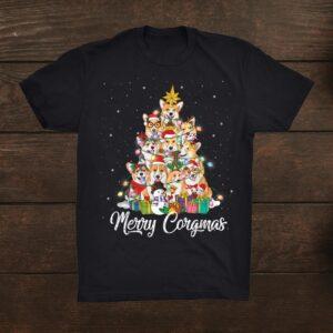 Merry Corgmas Corgi Christmas Tree Fairy Lights Dog Lover Shirt
