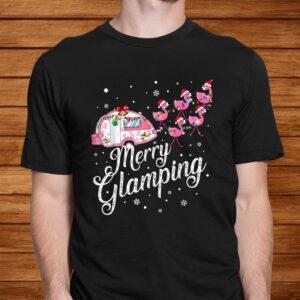 merry glamping tee funny christmas flamingo camper xmas gift t shirt Men 2