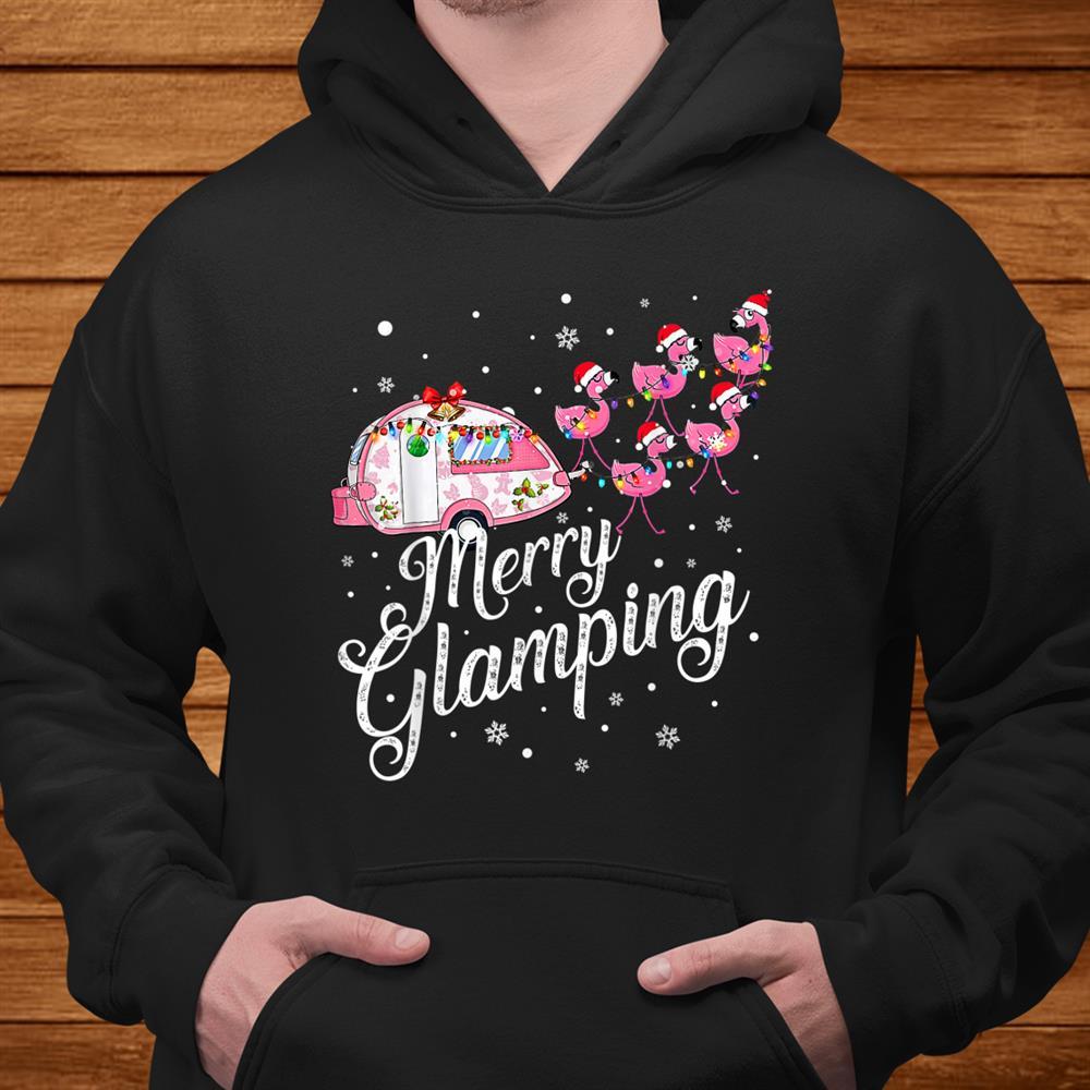 Merry Glamping Tee Funny Christmas Flamingo Camper Xmas Shirt