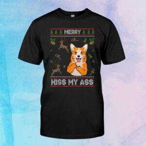 Merry Kiss My Ass Funny Corgi Dog Sweater Christmas Shirt