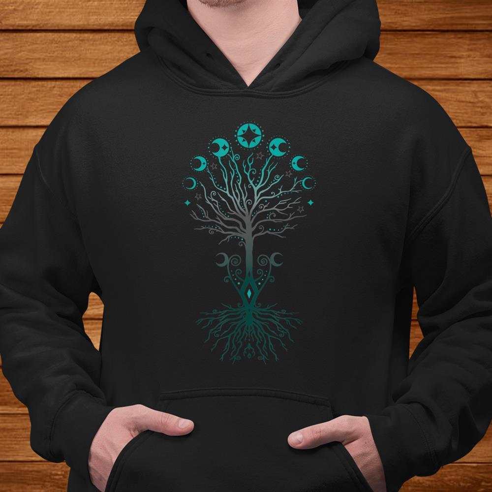 Moon Phases Tree Of Life Yggdrasil Viking Pagan Wicca Shirt