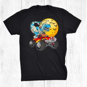 Mummy T Rex Riding Monster Truck Happy Halloween Boys Kids Shirt
