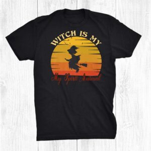 My Spirit Animal Is A Witch Funny Halloween Witch On Broo Shirt