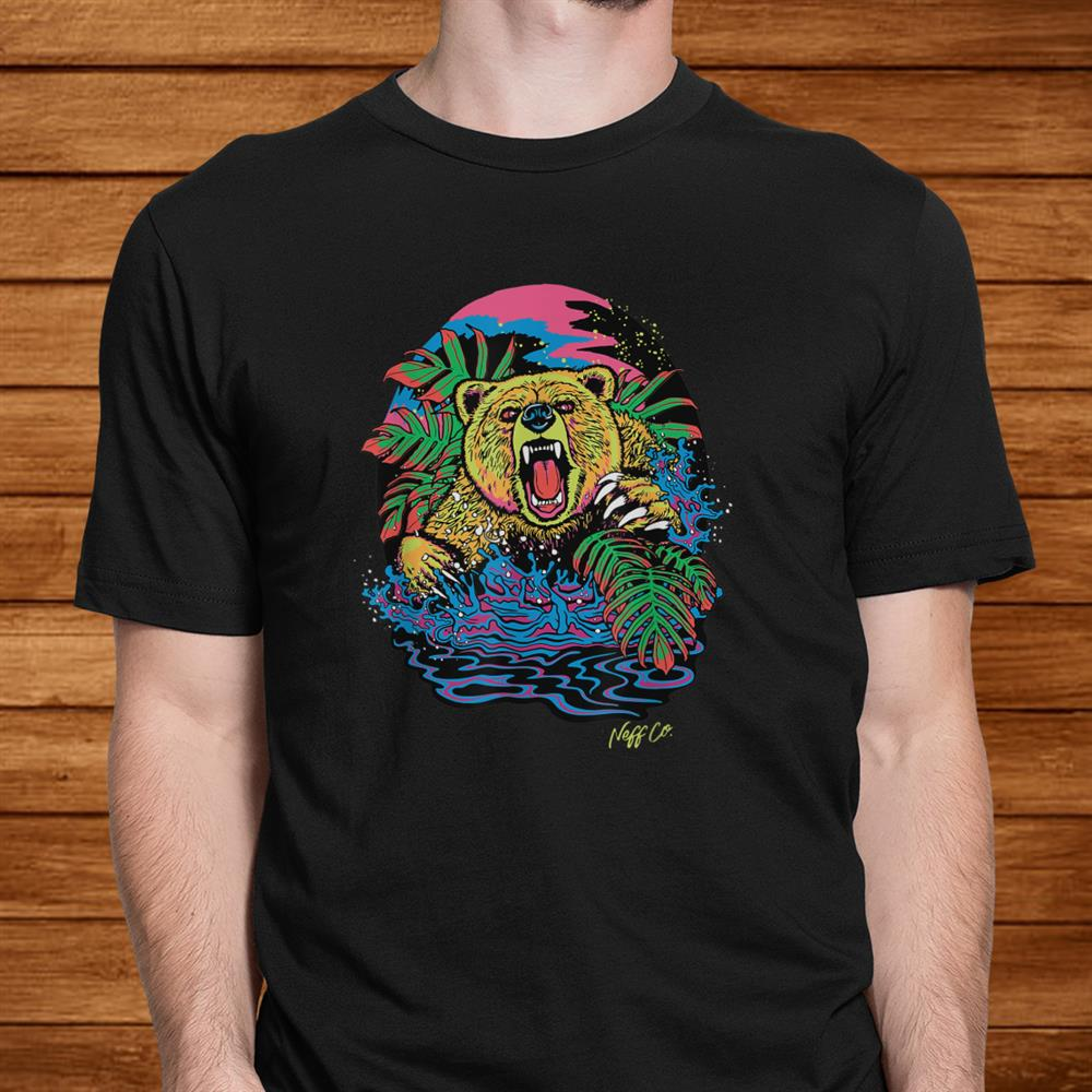 Neff Psychedelic Neon Grizzly Bear Shirt