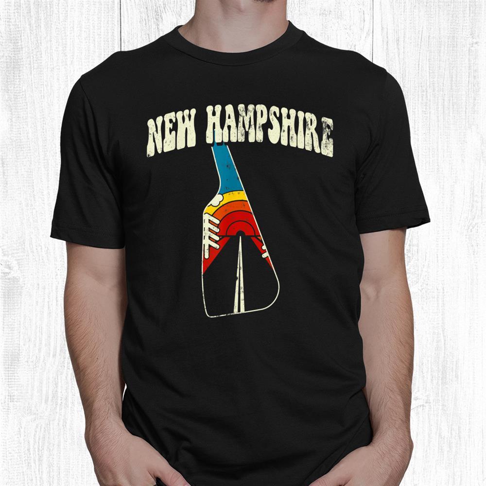 New Hampshire Vintage State Rainbow Hippie Retro 70s Map Shirt