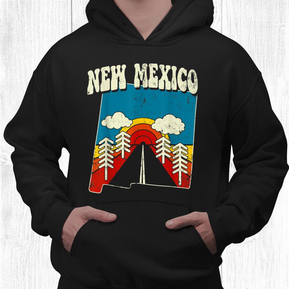 New Mexico Vintage State Rainbow Hippie Retro 70s Map Shirt