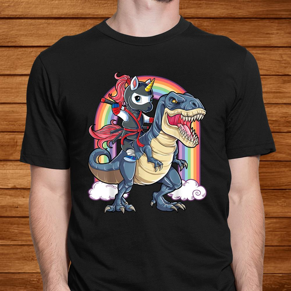 Ninja Unicorn Riding Dinosaur T Rex Shirt Boys Girls Kids Men