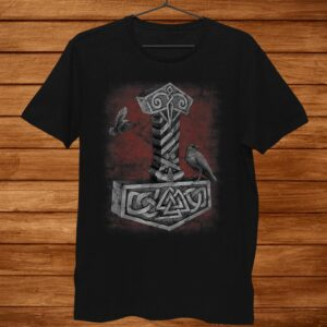 Norse Mythology Thor Hammer Mjolnir Odin Ravens Viking Pagan Shirt
