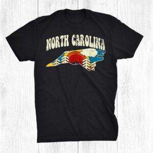 North Carolina Vintage State Rainbow Hippie Retro 70s Map Shirt