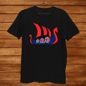Norway Viking Ship Shirt Norwegian Flag Dragon Boat Shirt