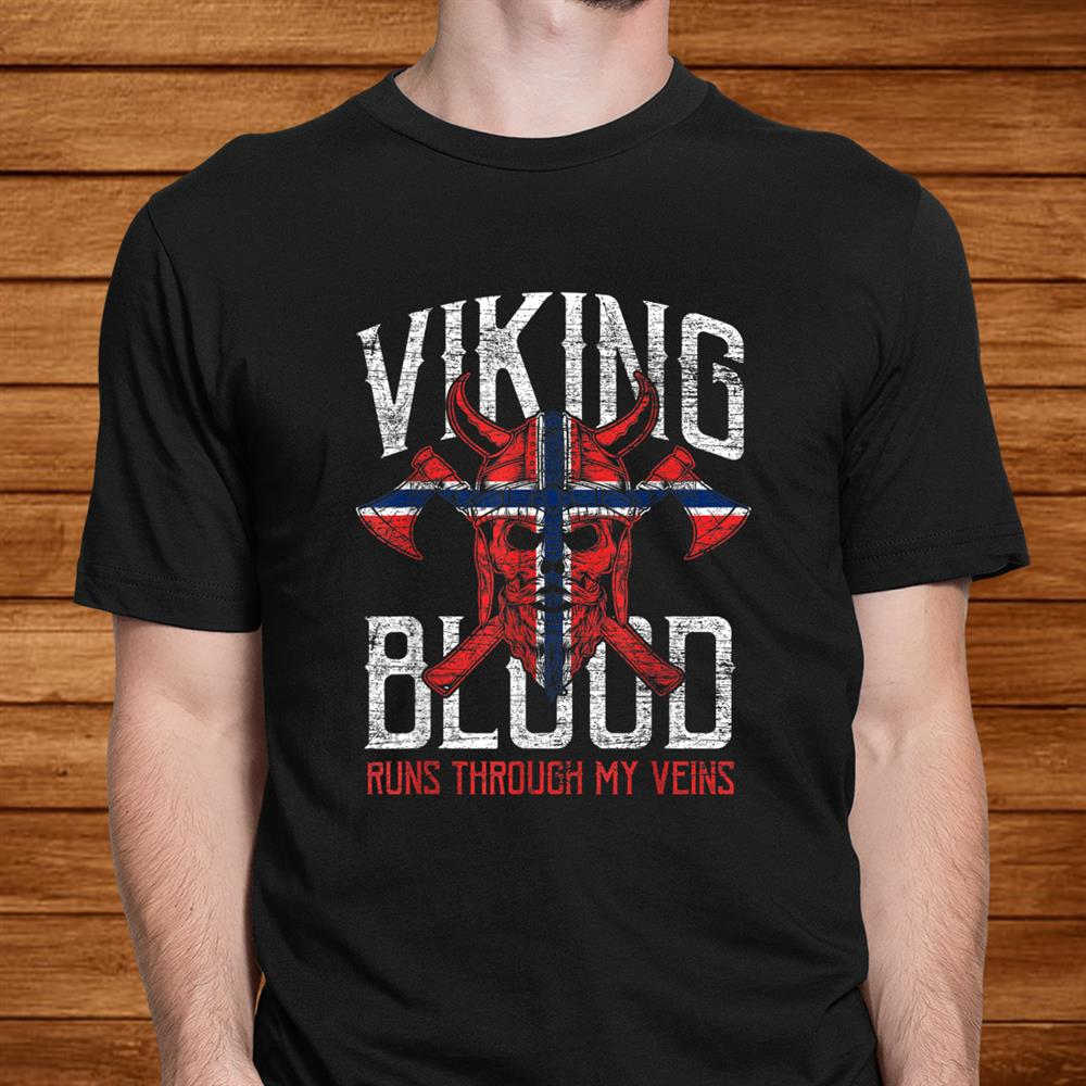 Norwegen Flag Viking Blood Gifts Skull Vintage Norway Shirt