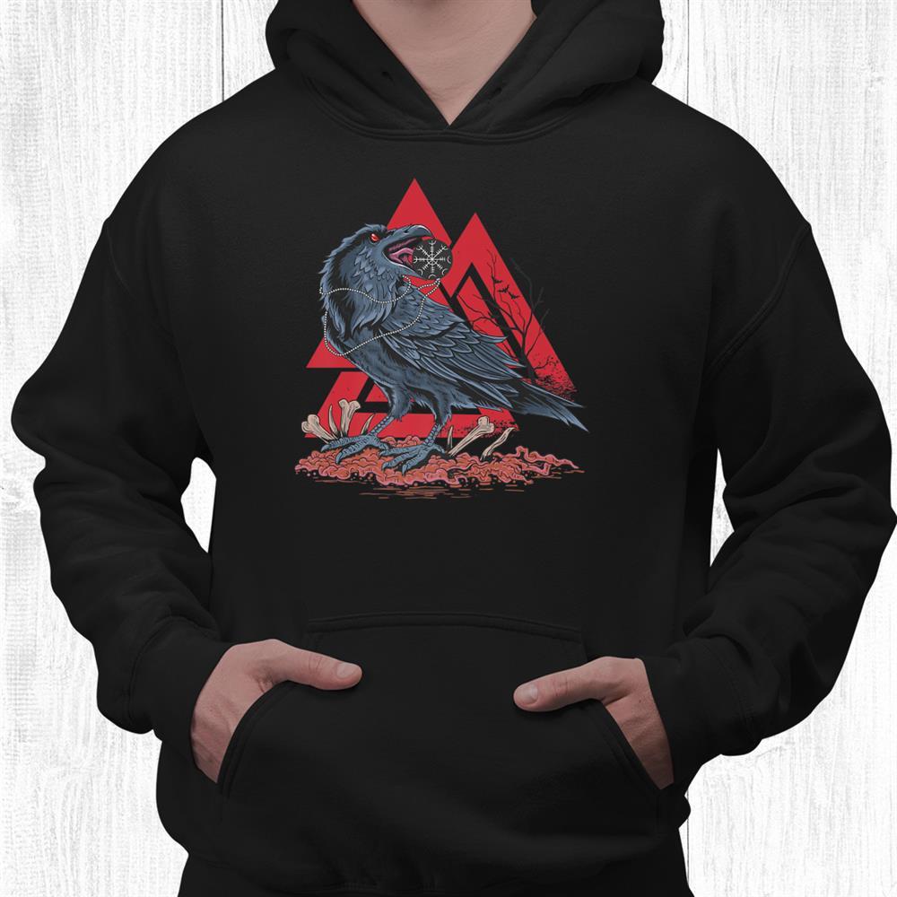 Odin Ravens Huginn And Muninn Viking Black Crow Valknut Shirt