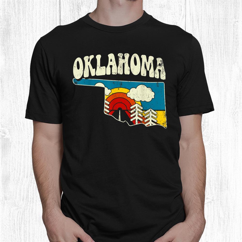 Oklahoma Vintage State Rainbow Hippie Retro 70s Map Shirt