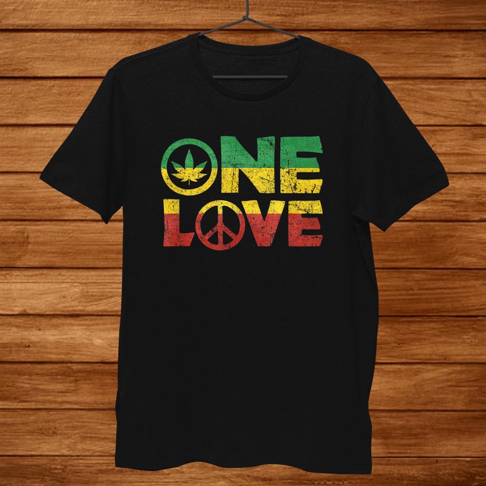 One Love Jamaica Shirt Peace Hippie Rasta Reggae Shirt