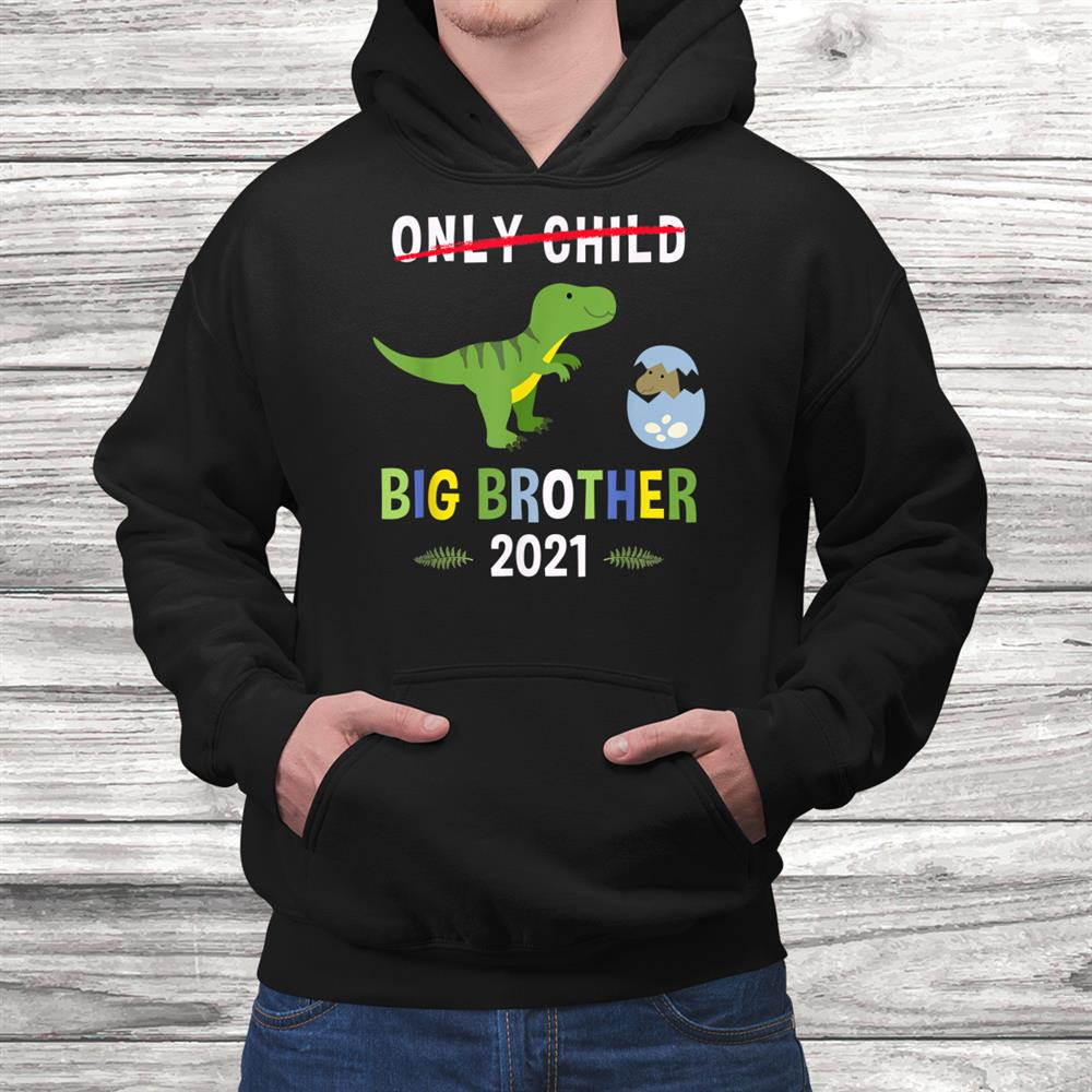 Only Child Promoted To Big Brother 2021 T Rex Dinosaur Shirt