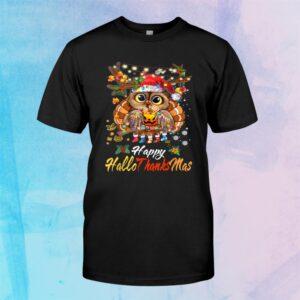 Owl Thankgiving Halloween Christmas Happy Hallothanksmas Shirt