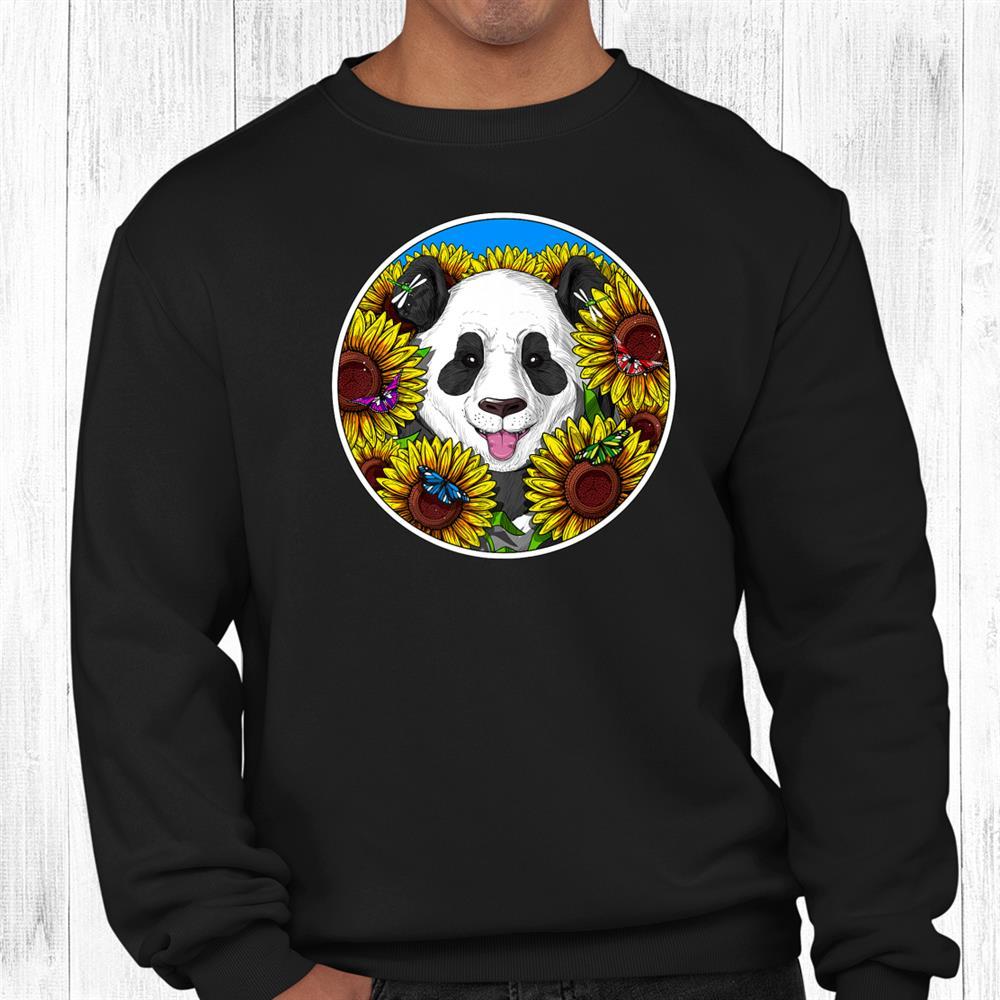 Panda Bear Sunflowers Funny Hippie Shirt