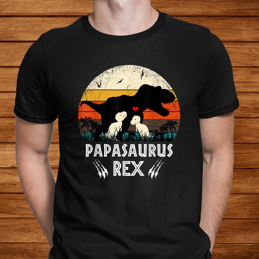Papasaurus T Rex Papa Saurus Dinosaur Men Dad Daddy Shirt