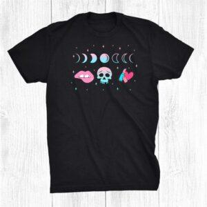 Pastel Goth Skull Crescent Moon Kawaii Make Up Witch Shirt