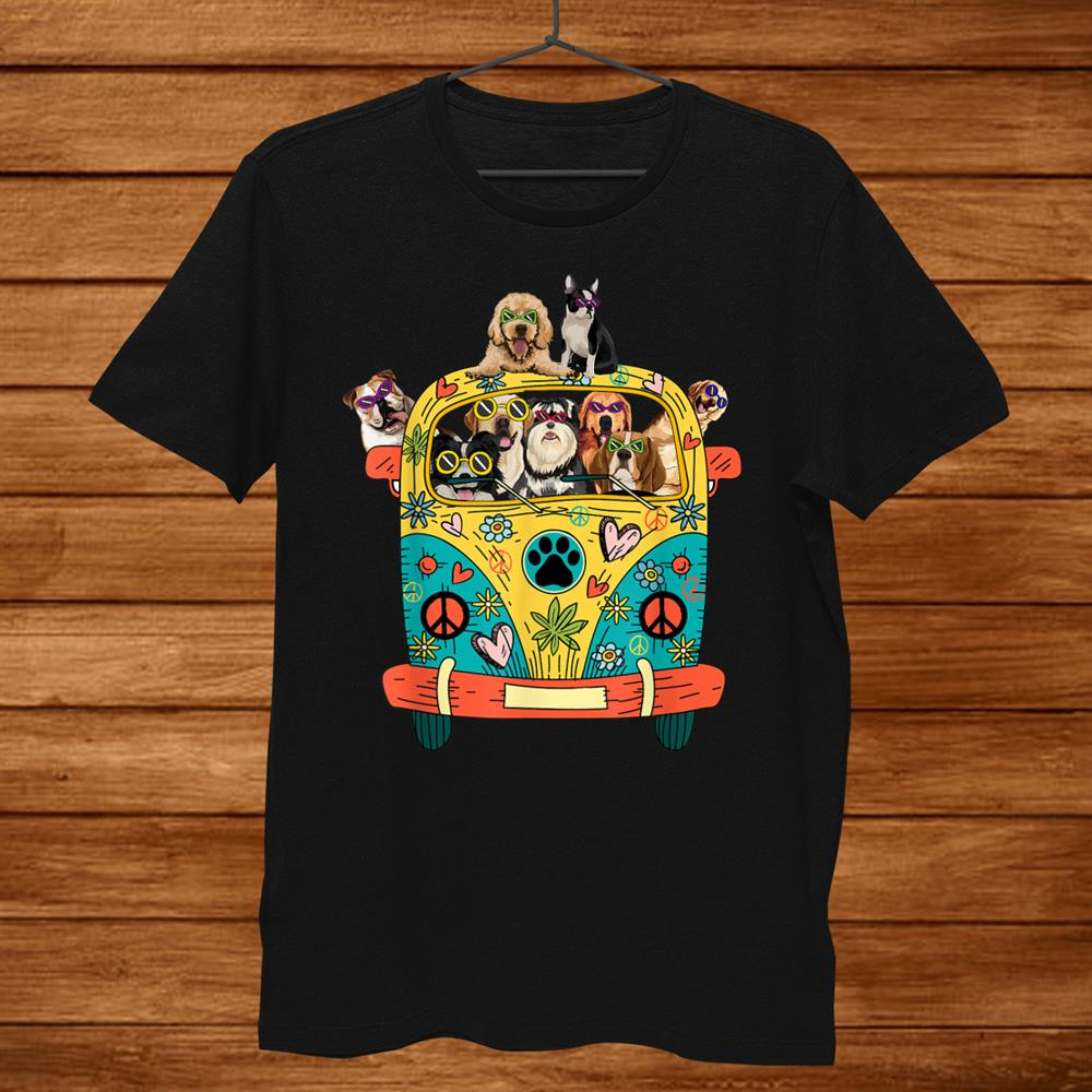 Peace Love Dogs Hippie Van Shirt Funny Tropical Summer Shirt