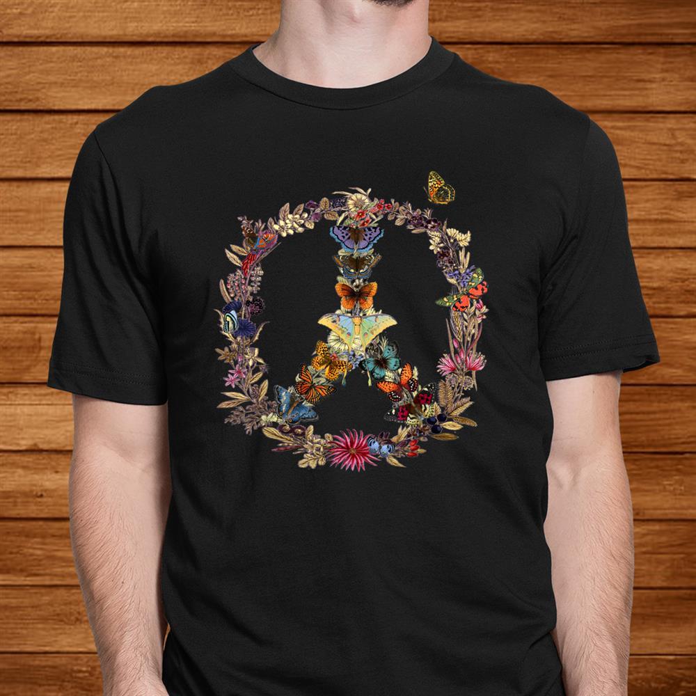 Peace Sign Butterflies Flowers 60s 70s Retro Gift Hippie Shirt