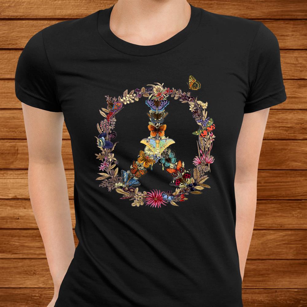 Peace Sign Butterflies Flowers0s0s Retro Gift Hippie Shirt