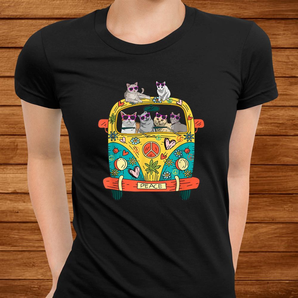 Peace Sign Hippie Van Cat Lovers Gift Idea Shirt