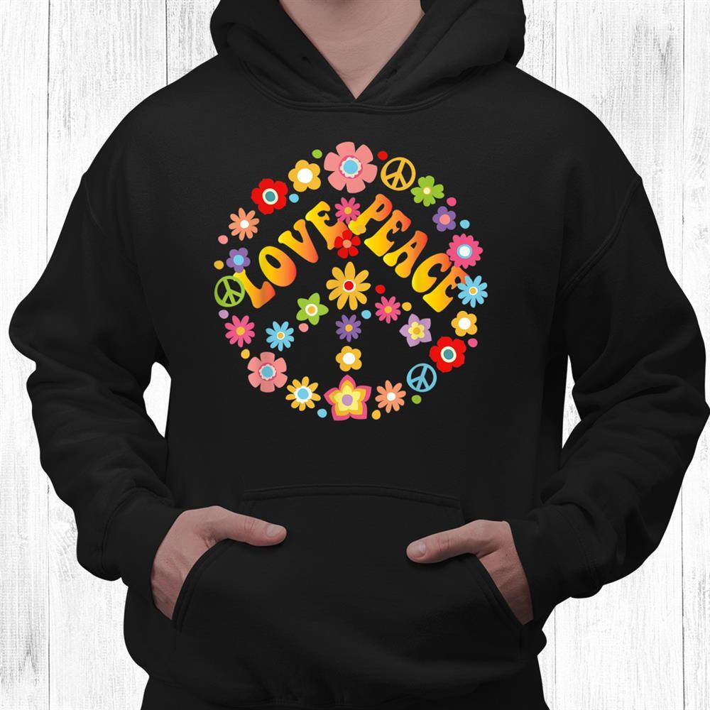 Peace Sign Love Shirt 60s 70s Tie Dye Hippie Costume Shirt