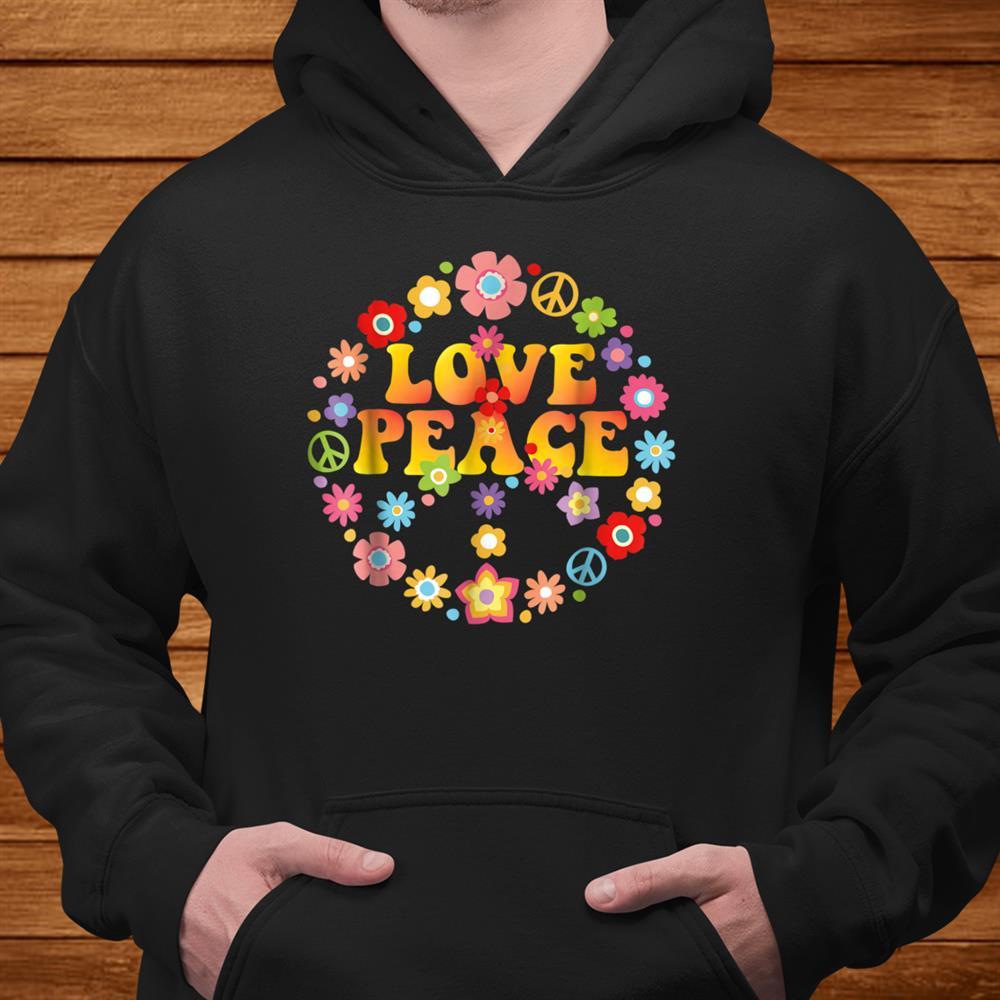 Peace Sign Love Shirt 60s 70s Tie Die Hippie Costume Shirt