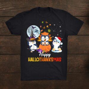 Penguin Halloween And Happy Hallothanksmas Merry Christmas Shirt