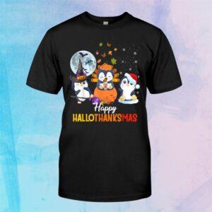Penguin Halloween And Merry Christmas Happy Hallothanksmas Shirt