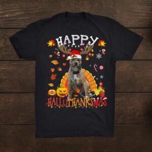 Pitbull Dog Happy Hallothanksmas Halloween Thanksgiving Shirt