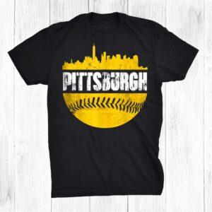 Pittsburgh Baseball Cityscape Distressed Novelty Pirate Shirt
