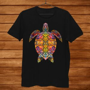Psychedelic Hippie Sea Turtle Gift. Tribal Turtle Shirt