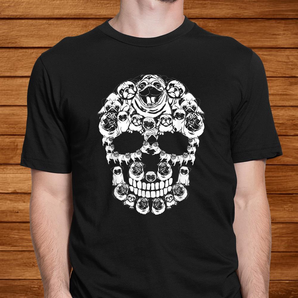 Pug Dog Shirt Halloween Skull Costumes Shirt