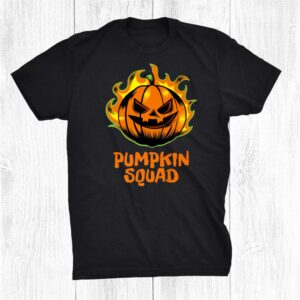 Pumpkin Squad Funny Halloween Family Matching Outfit Burning Shirt