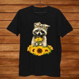Raccoon Sunflower Lovers Funny Shirt