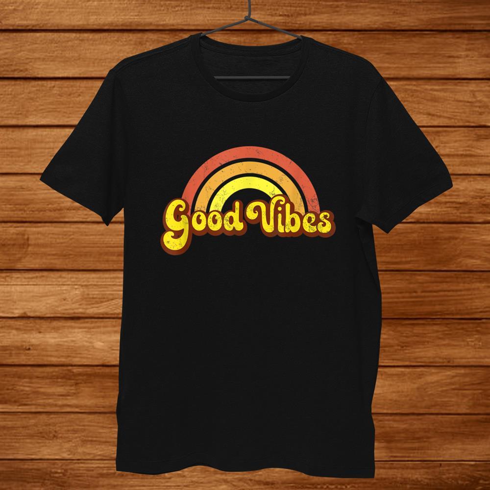 Rainbow Good Vibes Yellow Retro Hippy Hippie Shirt
