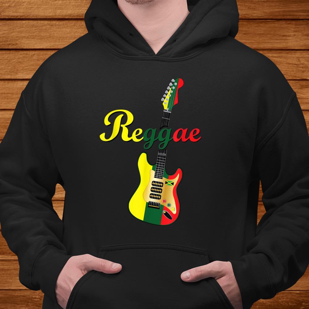 Rasta Color Red Green Gold Reggae Music Legend Guitar Shirt