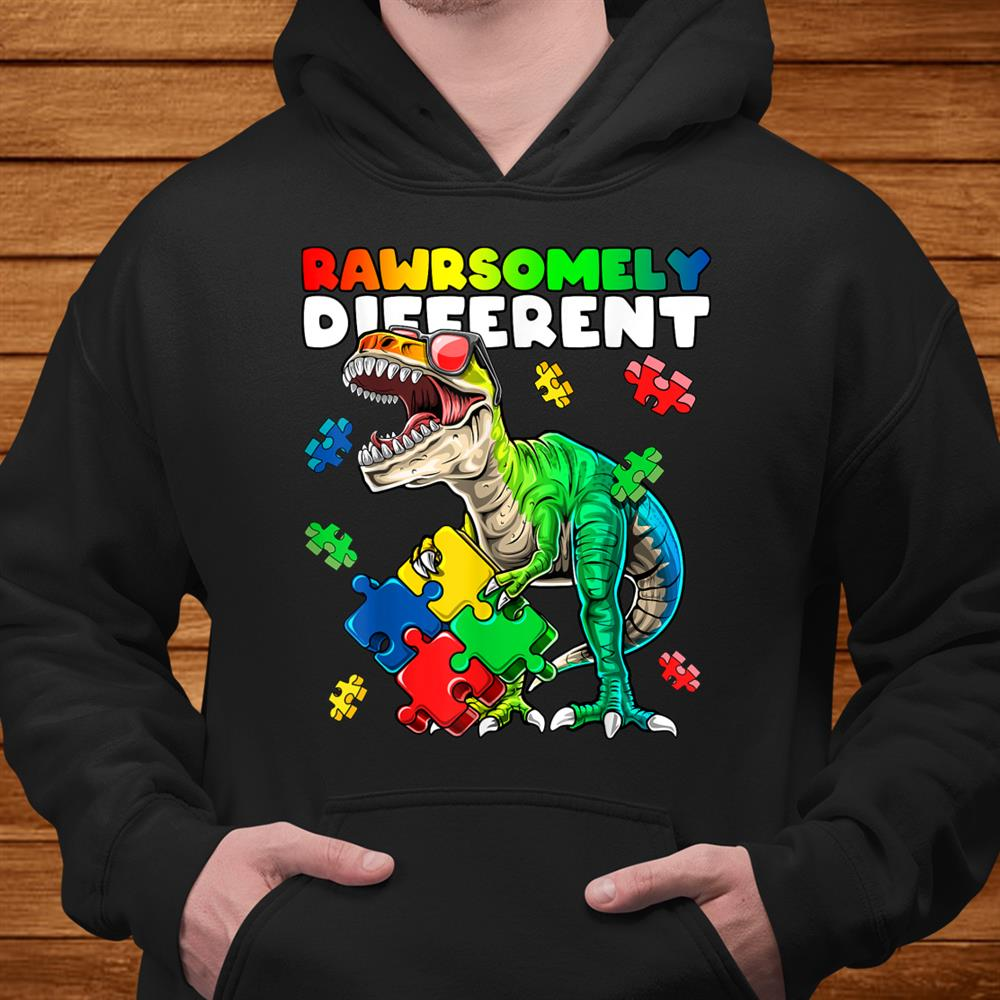 Rawrsomely Different Dinosaur Autism Awareness Puzzle Shirt