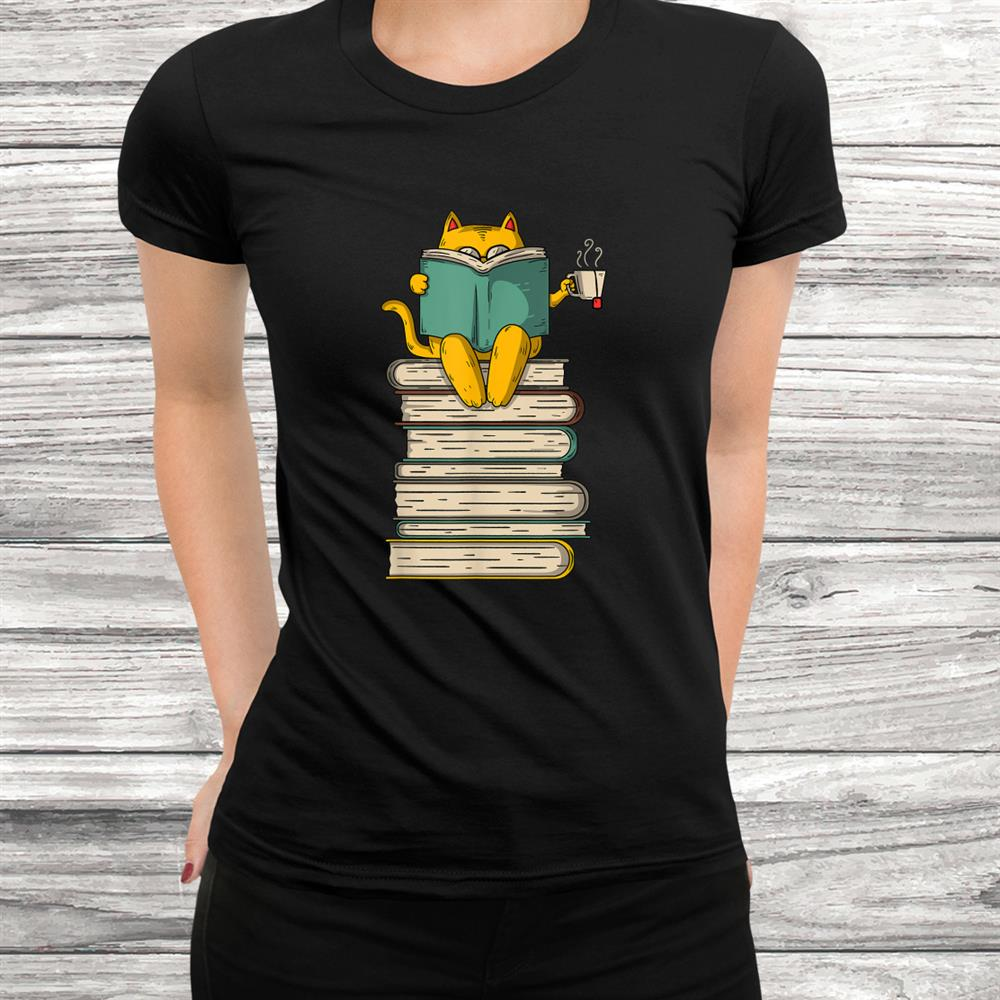 Reading Cat Funny Bookand & Tea Lover Shirt