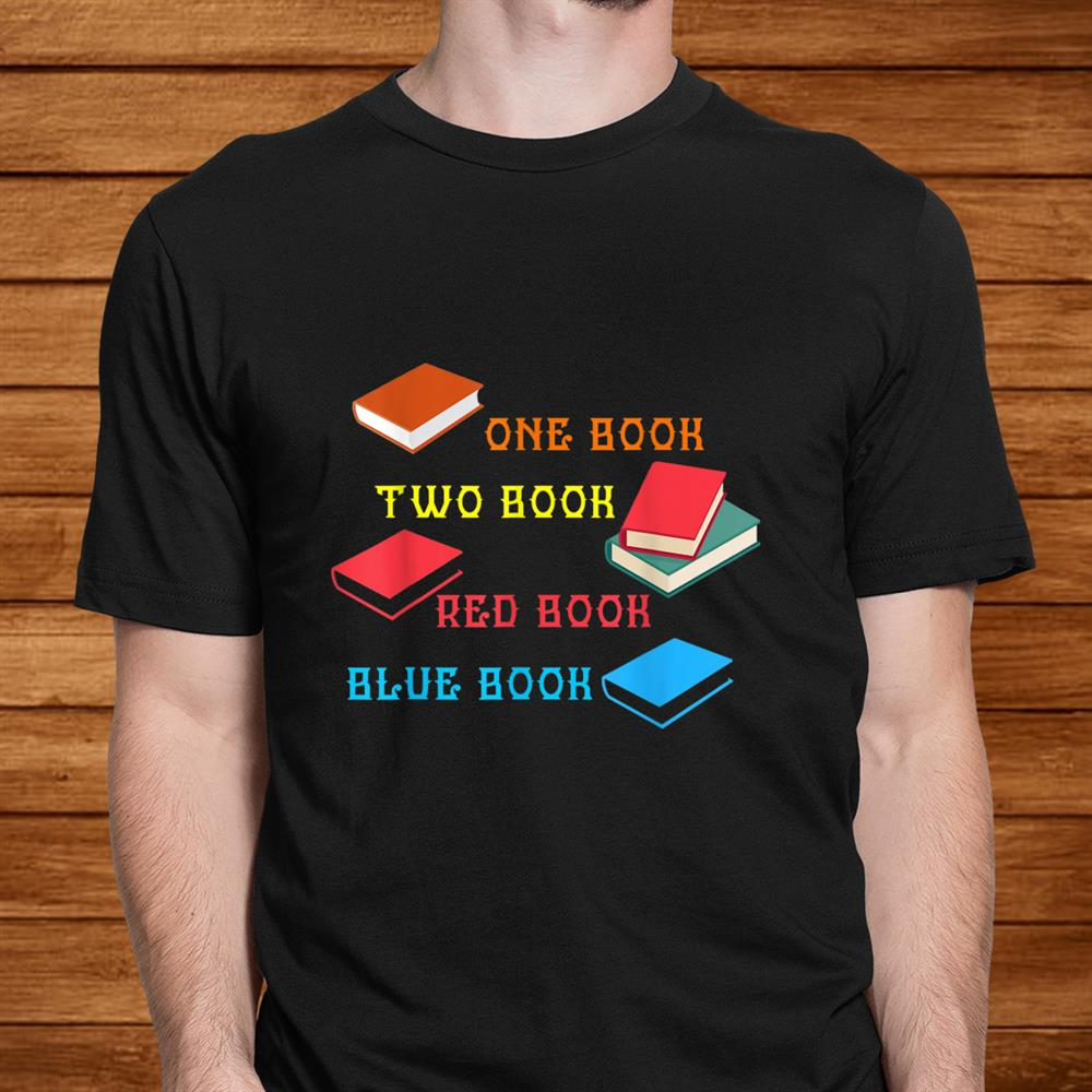 Reading One Book Two Red Blue Shirt