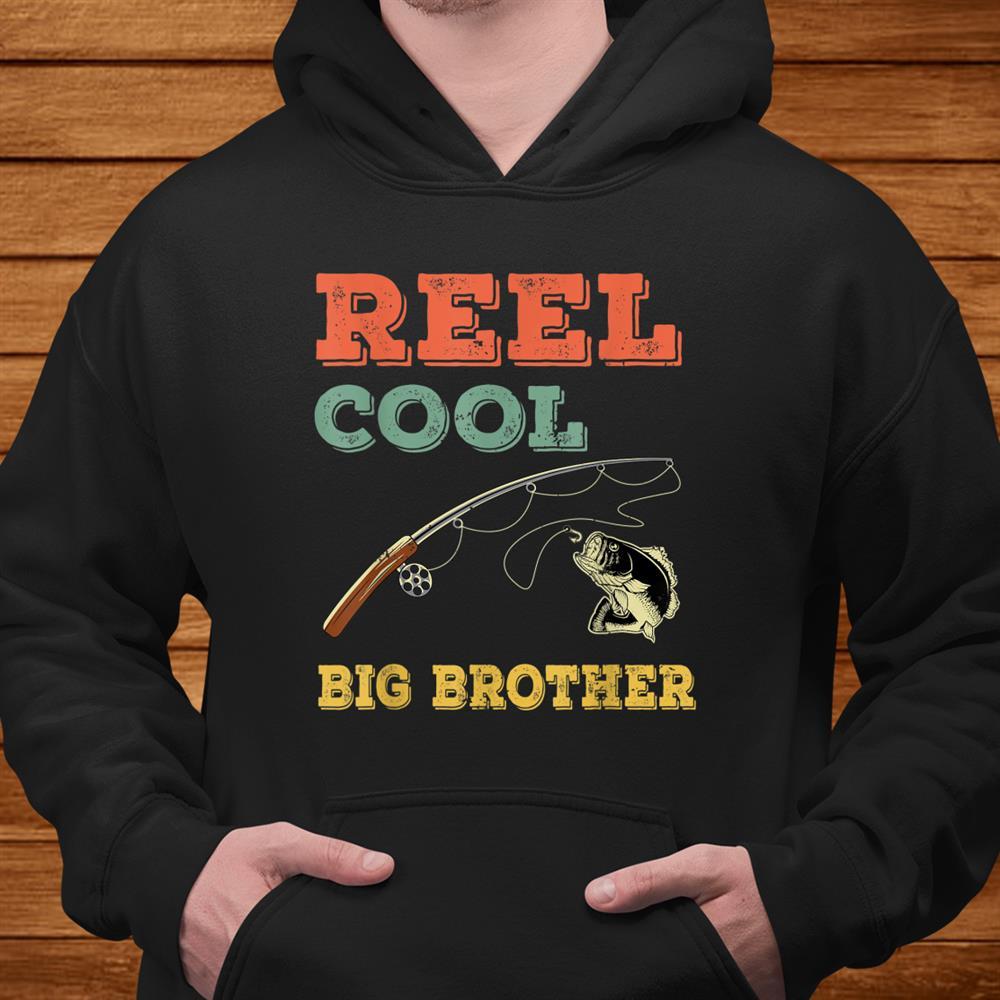 Reel Cool Big Brothers Gift Older Brother Boys Fishing Shirt