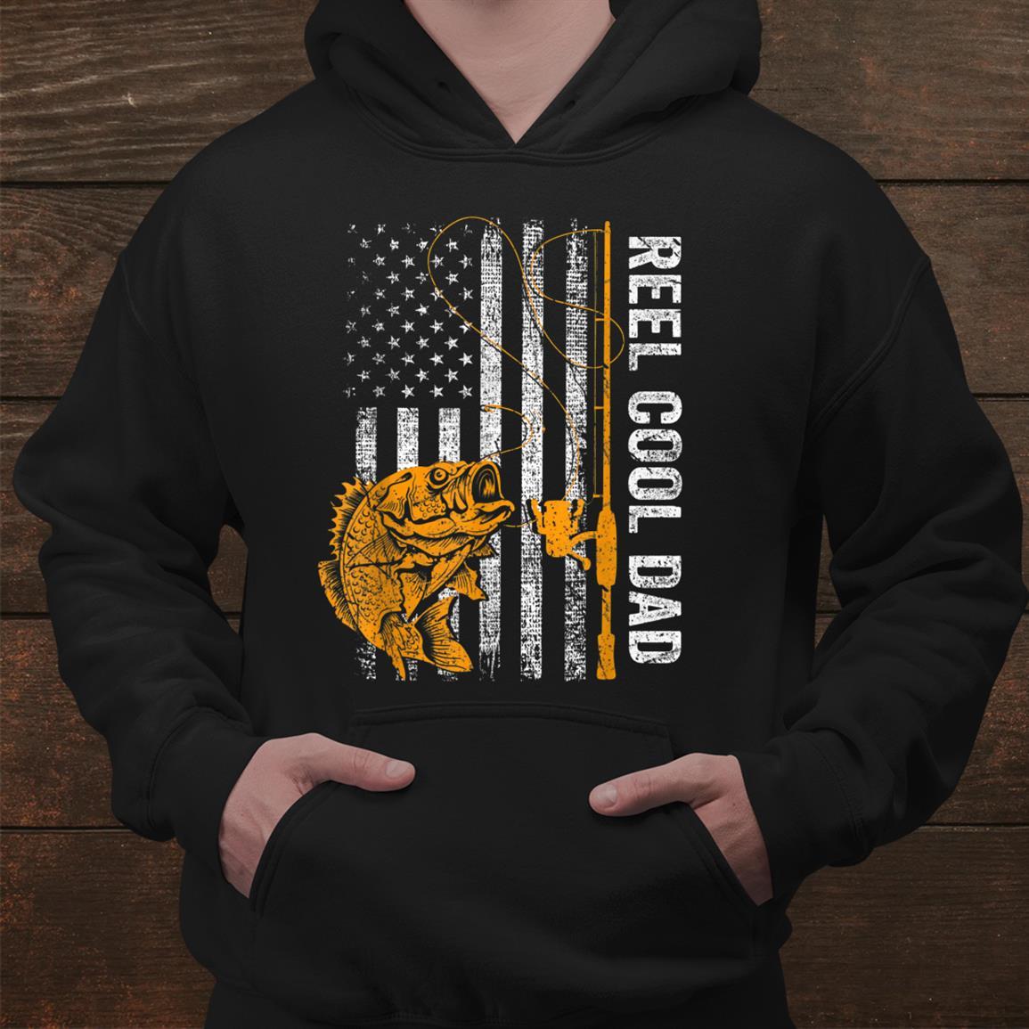 Reel Cool Dad Shirt American Flag Fishing Shirt