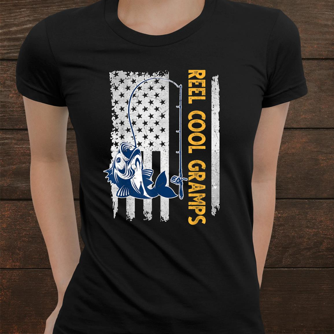 Reel Cool Gramps Shirt American Flag Fishing Shirt