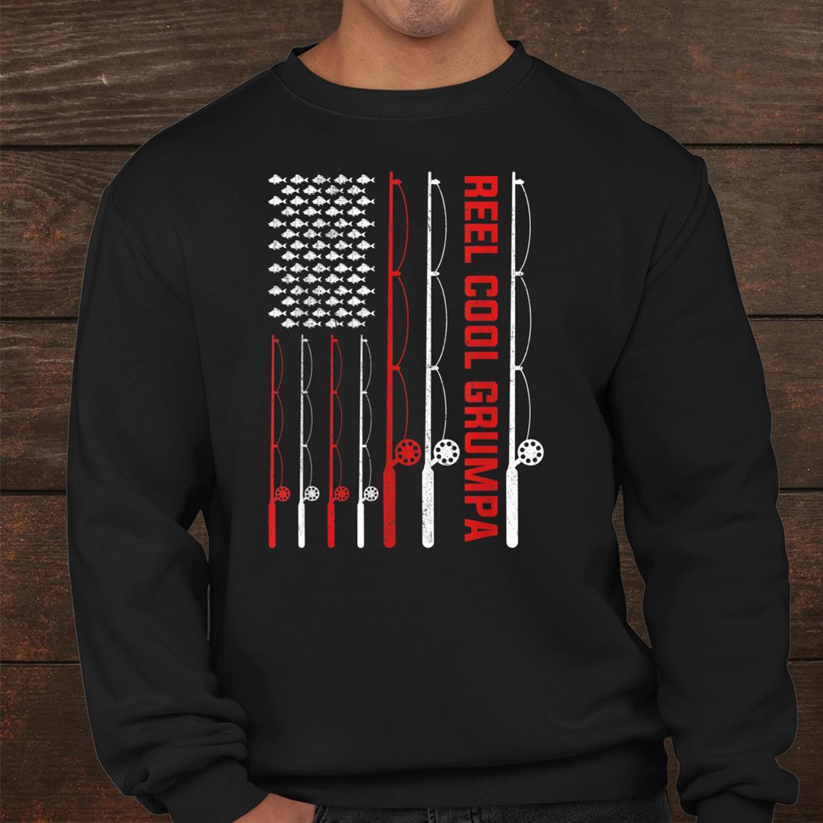Reel Cool Grumpa Fishing American Flag Shirt