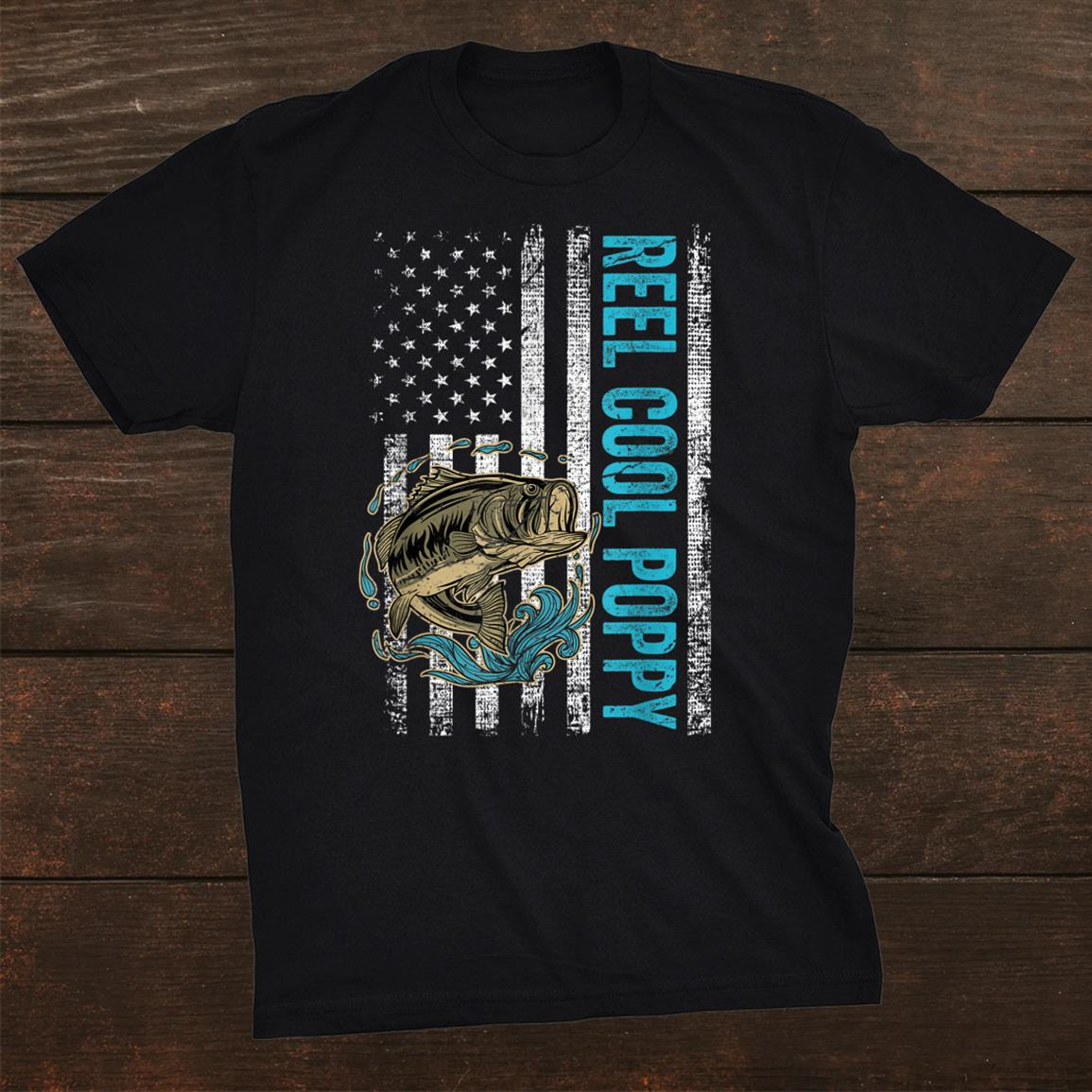 Reel Cool Poppy Fishing Gift American Flag Shirt