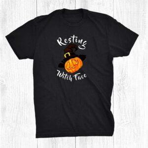 Resting Witch Face Halloween Pumpkin Jack O Lantern Shirt