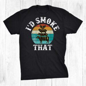 Retro Bbq Party Smoker Chef Dad Id Smoke Tha Shirt