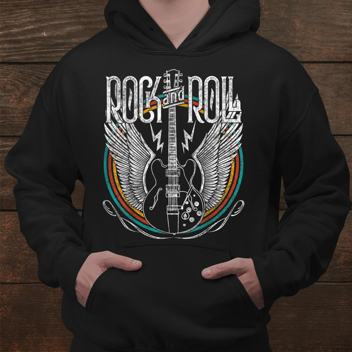 Retro Style0s Rockand & Roll Music Guitar Wings Vintage Shirt